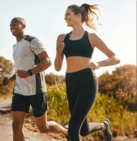 Man and Women running